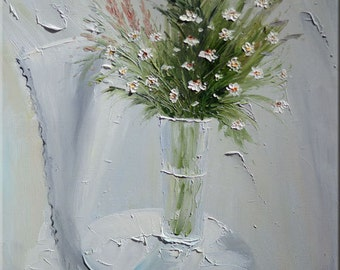 ORIGINAL Oil Painting Tender 36 X 23 Palette Knife Flowers Vase Green Bouquet White Grey Table ART by Marchella