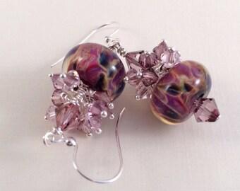 Lampwork Bead Earrings, Boro Earrings, Cluster Earrings, Beadwork Earrings, Purple Earrings, Glass Earrings, Lampwork Earrings