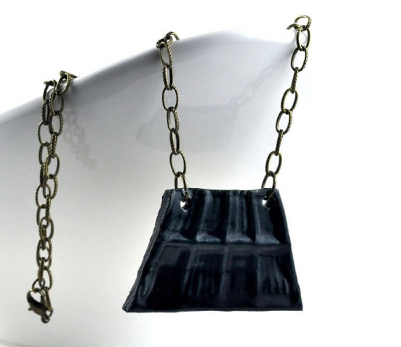 Statement Necklace Blue Black Handmade Jewellery Ceramic Geometric on Antique Bronze Chain Wearable Art