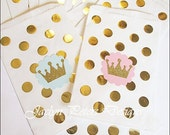 Twins First Birthday Party, Favor Bags, Prince or Princess, Baby Shower, Gold Foil Dots, Glitter Tiara Crown, Candy Bag Packaging, Set Of 12