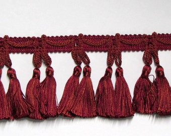 LAST 3 YARD PIECE  tassel fringe 2 3/4 inches burgundy red wine priced to sell