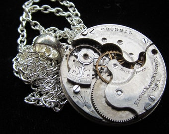 Steampunk Gorgeous Guilloche Engraved Watch Movement Necklace Pendant Z 53