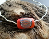 Polymer and Silver Wavy Omega Necklace - Red, Black, and Silver Necklace - The Wave