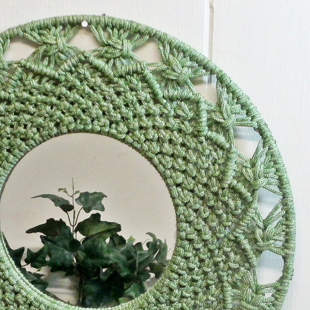 Macrame mirror wall hanging green 1970s zoom amipublicfo Images