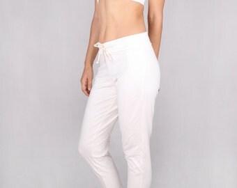 Churidar Pants in Cotton Lycra OFF WHITE - Dance wear, Yoga wear, Active wear, Casual wear