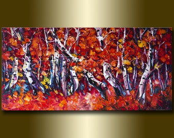 Original Autumn Birch Tree Forest Textured Palette Knife Landscape Painting Oil on Canvas Modern Art Seasons 20X40 by Willson Lau