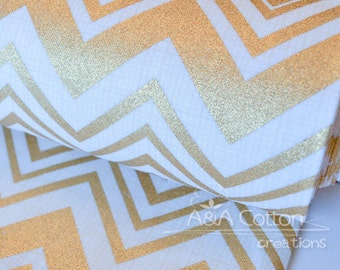 Last Piece-Chevron in Metallic Gold Print, Quilting Weight Cotton textile, Designed Cotton Fabric, Heavy Metal Collection, Camelot Design