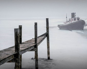 Tugboat stuck in the Winter Ice on a Foggy Morning by a Wood Dock on Kalamazoo Lake By Saugatuck Michigan No.FS2 A Boat Seascape Photograph