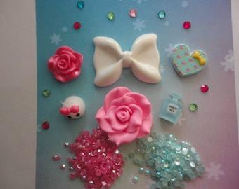 Kawaii decoden deco diy charm white bow and teardrop cabochon kit   243---USA seller