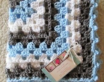 SALE/CLEARANCE...Mini baby blanket, stroller blanket, travel afghan, 18 inch x 18 inch