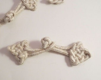Natural Beige Linen Handmade Knotted Frog Closure--One Piece