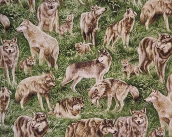 Wild Wolves Print Pure Cotton Fabric--One Yard