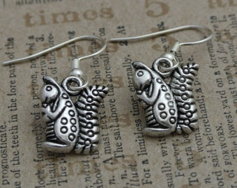Silver plated squirrel earrings