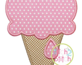 """Ice Cream Cone Applique, shown with our """"Fancy Circle"""" Font NOT included,  In Hoop Sizes 4x4, 5x7, and 6x10 INSTANT DOWNLOAD now available"""