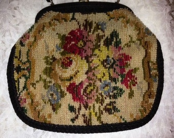 Vintage Jana Needlepoint Shoulder Bag Purse - Needlepoint Bag - Made in Italy - 1950s