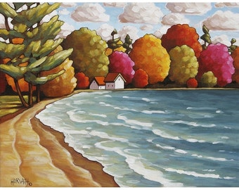 """Art Print by Cathy Horvath 5""""x7"""" Cottage Lodge Beach Trees, Folk Landscape Summer Lake Water Giclee, Archival Artwork Seascape Reproduction"""