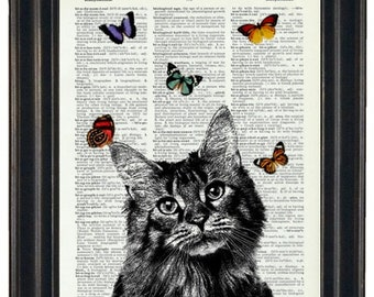 BOGO Sale Cat Dictionary Art Print with A HHP Original with HHP Signature Butterflies Wall Decor Dictionary Print Dictionary Prints