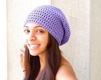 Crochet Slouchy Hat, Women, Men, Teen, Slouch Hat, Tam,  Adult, Lavender, Purple,