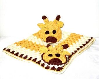 Crochet Baby Blanket, Hat Set, Newborn, Giraffe, Yellow, Off White, Brown Baby Shower
