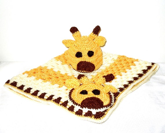 Crochet Baby Blanket, Hat Set, Newborn, Giraffe, Yellow, Off White, Brown Baby Shower