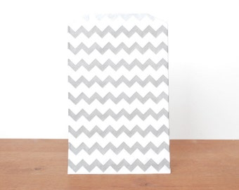 goody bags treat bags: 10 grey gift bags, gray striped chevron, favor bags