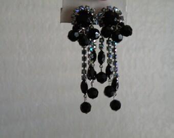 """Juliana black, blue aurora borealis dangle clip on earrings 2 3/4"""""""