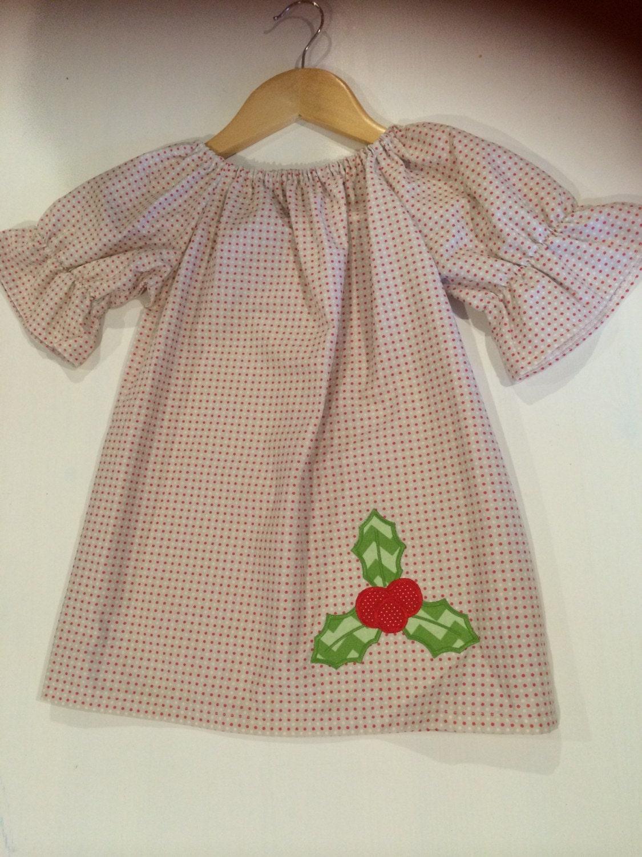 Ready to ship gray polka dot holly christmas dress by gigibabies