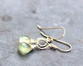 Prehnite Earrings Sterling Silver lime green glowing teardrop gemstone earrings