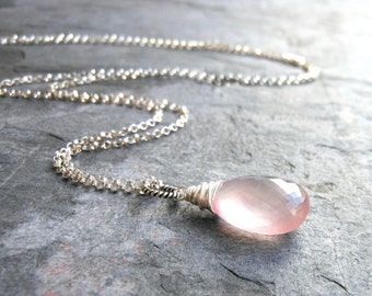 Rose Quartz Necklace Jewelry Pendant Necklace, Pink Teardrop, Sterling Silver Rolo Chain Gemstone
