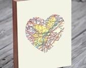 Philadelphia Map - Philadelphia Art - Philadelphia Love - Philadelphia Print - Wood Block Art Print