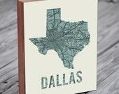 Dallas Art - Dallas Map - Dallas Texas - Wood Block Art Print