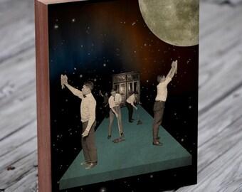 Space Cleaners - Moon Art - Space Art - Vintage Collage Art - Wood Block Art Print