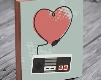 Video Game Art - Nintendo Poster - Nintendo Controller - Art for game room - Wood Block Art Print