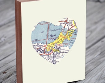 New Orleans Map - New Orleans Art - New Orleans Wall art - NOLA Art - City Heart Map - Wood Block Art Print
