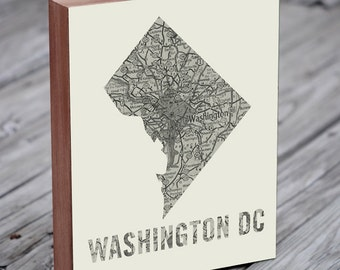 Washington DC Map - Washington DC Art - Washington DC Print - Wood Block Art Print
