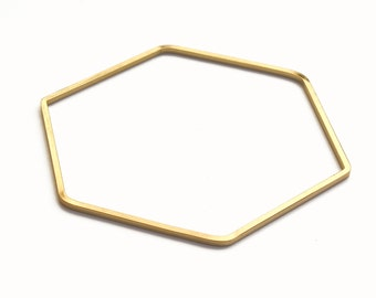 "ELEMENTS - Gold plated hexagon bangle bracelet ""Reine 2"" (ENBR02)"