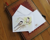 """Chickadees,  Note Card, Print of Watercolor 4.25""""x5.5"""" with Envelope"""