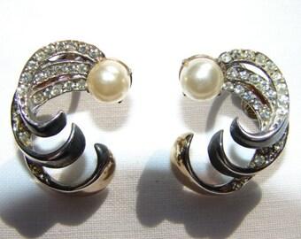Vintage Sterling Silver Pearl and  Rhinestone Earrings