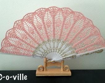 Wedding HAND FAN,  Hand fan, Light Pink Fan, Peach, Feng Shui Gift, Wedding Accessory, Lolita, Bride Bouquet, Photo prop, Made in America