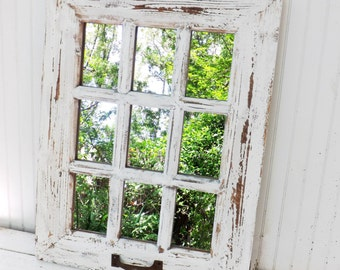 Rustic Farmhouse Window Mirror~Window Pane Mirror~Shabby Chic Mirror~Large Wall Mirror~Vintage Style
