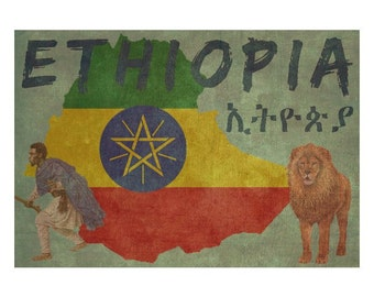 ETHIOPIA 1F- Handmade Leather Passport Cover / Travel Wallet - Travel Art