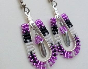 Native American Beaded Earrings - Teardrop Hoops - 2 Feathers - Silver-lined Violet