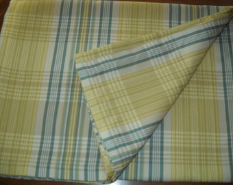 Plaid tablecloth  yellow tan green   72 long by 53 wide