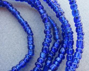 African Blue Glass Beads -2 Strands