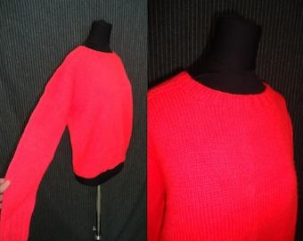 Bright Pinkish Red Wool Vintage 1950's Womens Knit Sweater M L