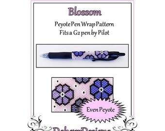 Bead Pattern Peyote(Pen Wrap/Cover)-Blossom