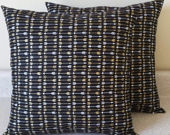 Set of 2 Black white gold arrow pillow covers shams Seminoles sofa throw couch bed 18 x 18