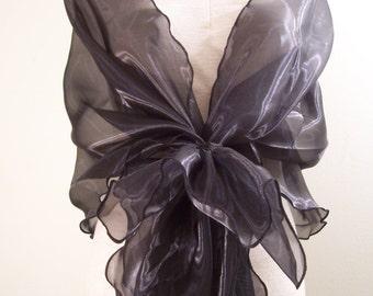 Evening design elegant shawl,gloss black color. Made to order.