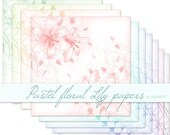 Floral digital paper floral Digital paper flower Lily flower Pastel digital paper pastel floral Craft paper scrapbook paper commercial use