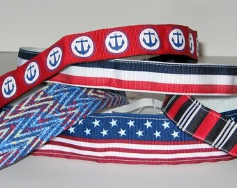 No Slip Headband, Patriotic Headband, Nautical,  PartyFavor,  Anchor, Olympics, Jogger, Red, White, Blue, Velvet Headband, July 4th